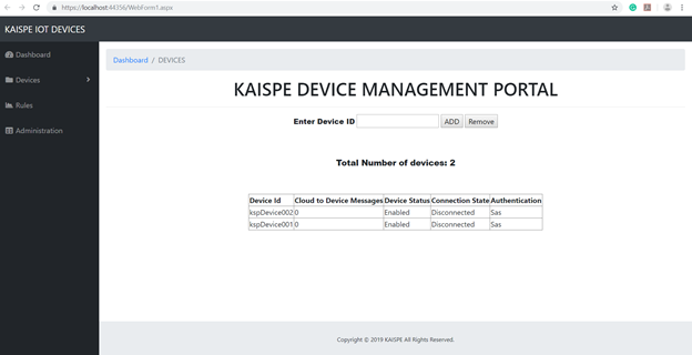 Blog2 - Microsoft Azure IoT Device Management using .NET based Web Application