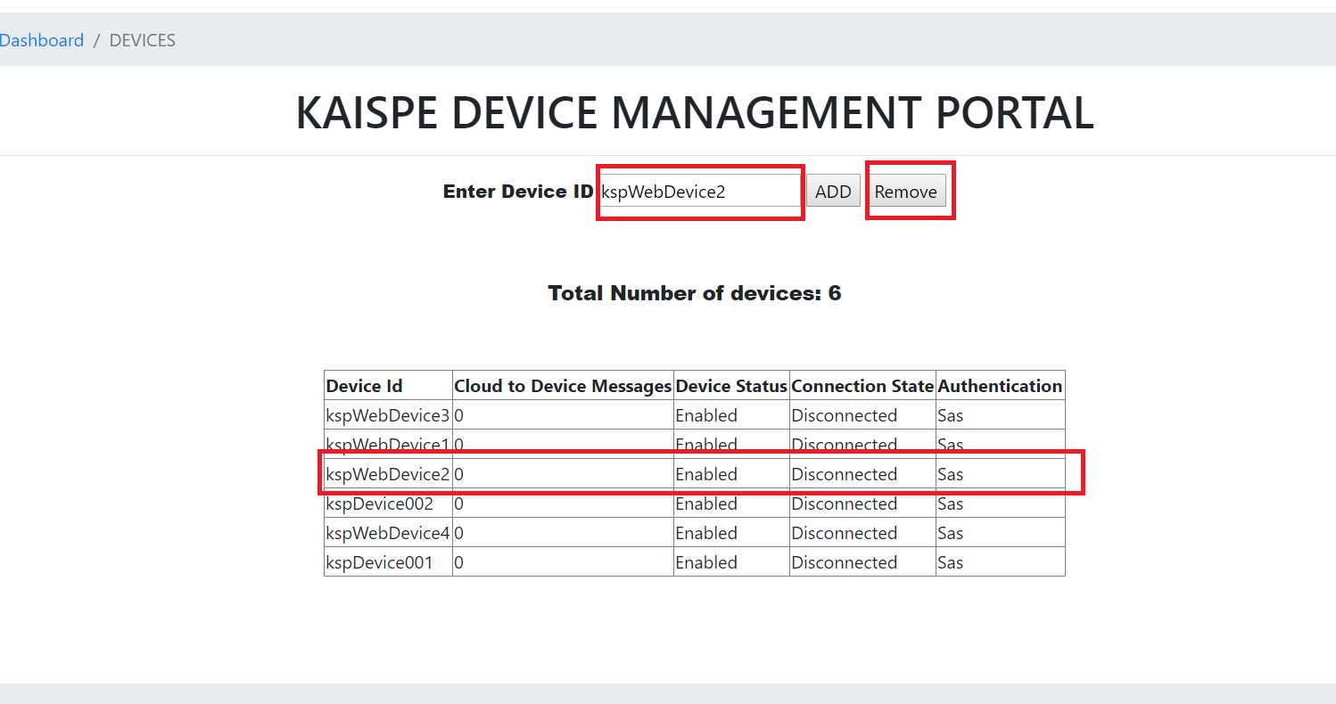 remove - Microsoft Azure IoT Device Management using .NET based Web Application