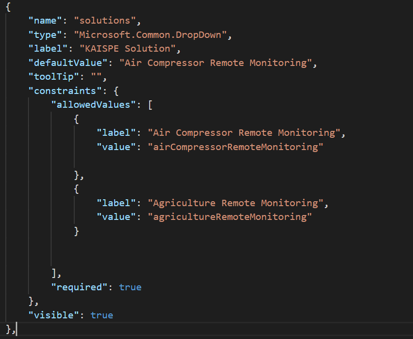 dropdown - How to write createUiDefinition.json for Azure Managed application