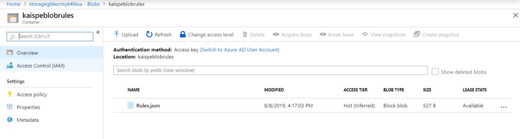 ruleCreated 1024x274 - Saving Data in Microsoft Azure Blob Storage from a Web Portal