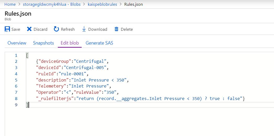 ruleJson - Saving Data in Microsoft Azure Blob Storage from a Web Portal