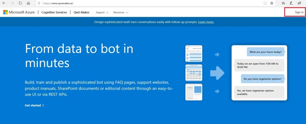 qnaFront 2 1024x418 - Develop a basic Chatbot using Microsoft Azure Cognitive Services