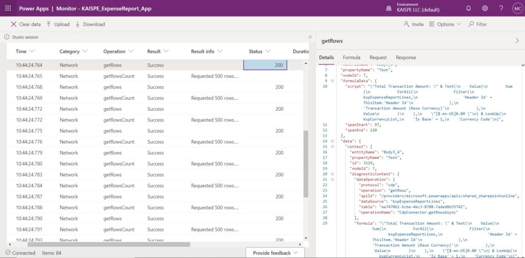 Detail 1024x503 - Using Monitor in Microsoft PowerApps